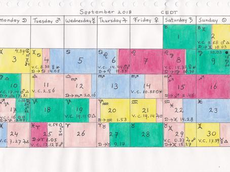 Void of Course Moon Calendar - September 2018