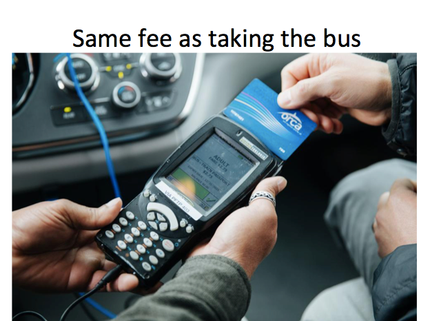 Same price as bus and can transfer
