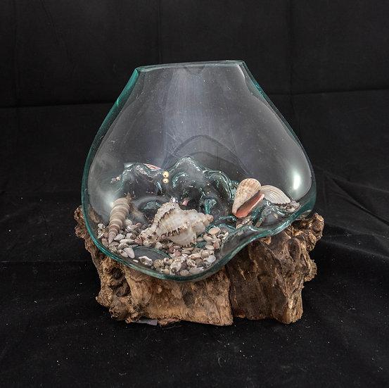 Molten Glass & Wood Sculpture - 24 cm