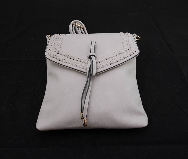 Flapover Braided Crossbody – Light Grey