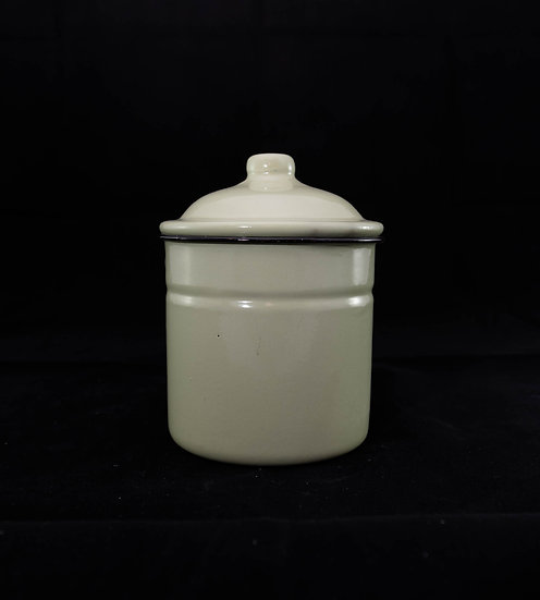 Potting Shed Enamelware Canister with Lid - White