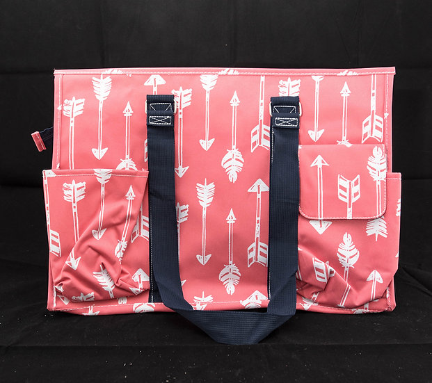 Large Organizer Tote - Coral w/Arrows
