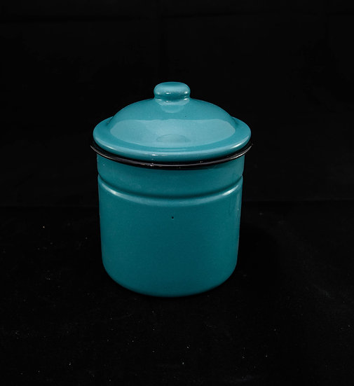 Potting Shed Enamelware Canister with Lid - Aqua