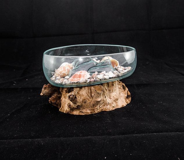 Molten Glass & Wood Sculpture - 20cm Open Mouth