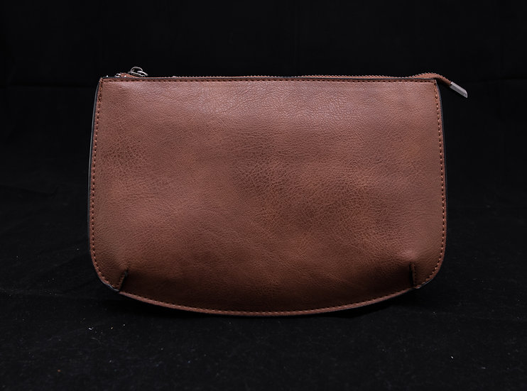 Two Compartment Crossbody/Clutch - Brown