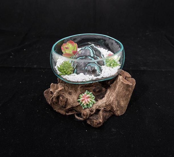 Molten Glass & Wood Sculpture - 15cm Open Mouth