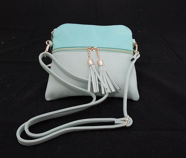 Tassel Zip Crossbody – Seafoam/Turquoise
