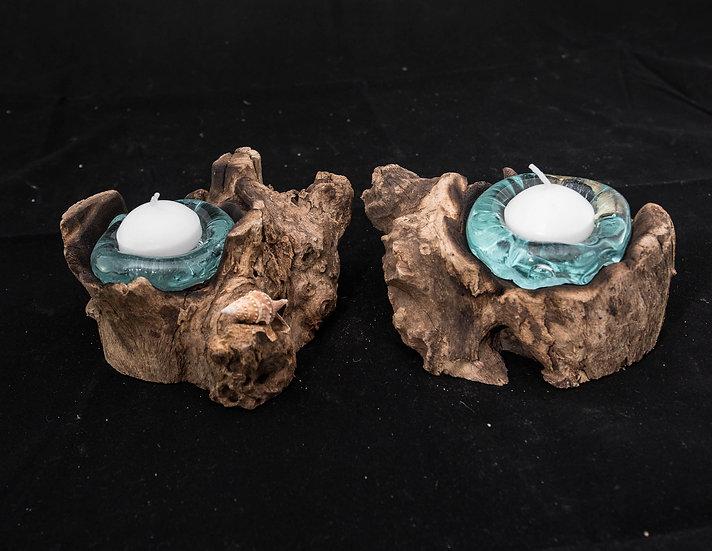 Molten Glass & Wood Sculpture - Candle Holders 2 piece set