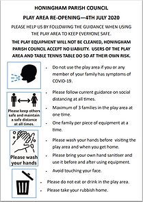 Image of poster detailing rules of play area use during COVID