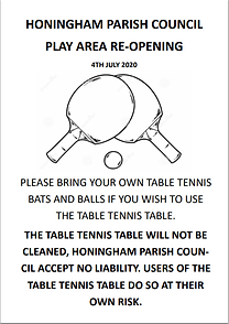 Image of poster explaining rules of use for table tennis table during COVID