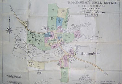 Old map of Honingham Hall Estate