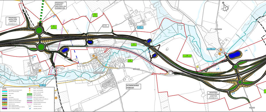 Extract of draft plan for dualling of the A47 at Honingham