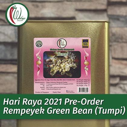 PRE-ORDER Rempeyek Green Bean (Tumpi), 2.5kg Big Tin