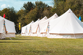 Light creme canvas waterproof tent in a