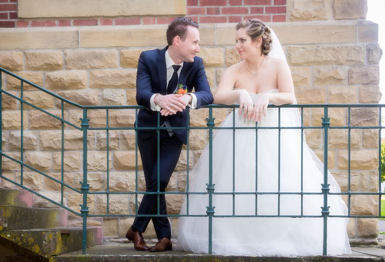 Brautpaar auf dem Romeo und Julia Balkon