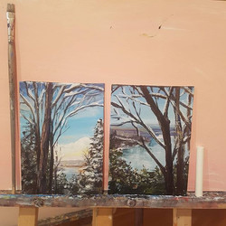 #15 and #16 _Jaqueline's Walk, Niagara River_ 5_x7_ acrylic and chalk on board