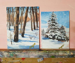 2 demos from winter scenes workshop I held this morning will serve as today's daily painting! #27