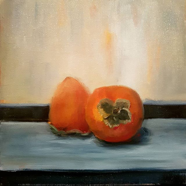 #3 of my January challenge, Persimmons 8_x8_ oil on board. We bought a case of persimmons about one
