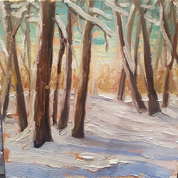 _Winter Walk in the woods 2_, #7 of my January Challenge 8_x8_ oil on board