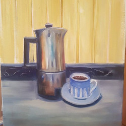 Quick study in the morning before heading out! An express _espresso_ 12x16 oil on canvas