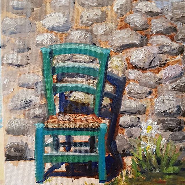 _Straw Chair in Umbria_ 5x7 oil on board...