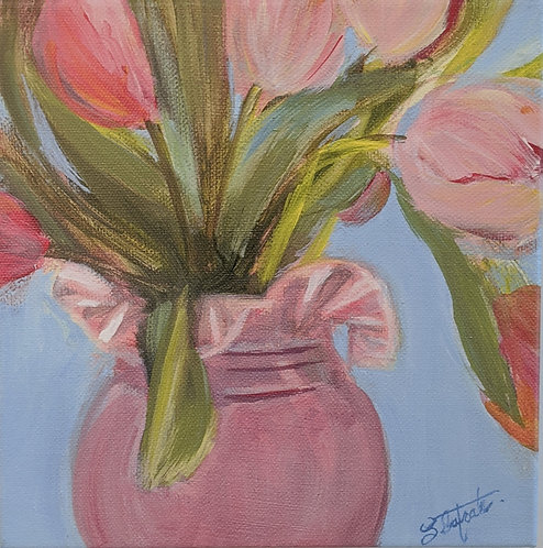 Tulips in Pink Ruffle Vase