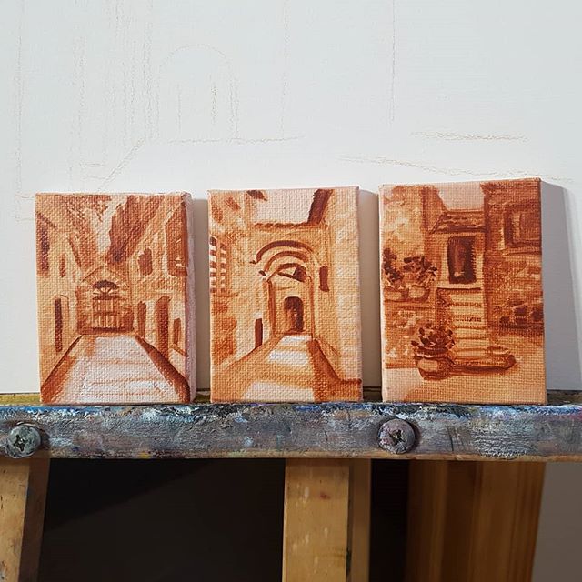 Totally cheating! 3 tiny paintings in burnt sienna 2_x3_ oil on canvas, home stretch for 30 in 30 da