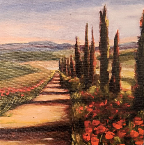 Poppies and Cypress Trees