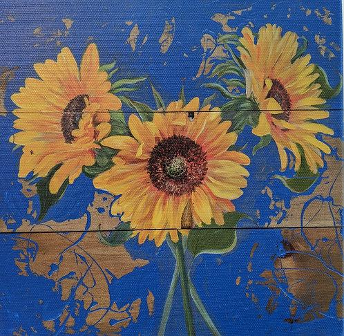 Sunflowers on Barnboard on Blue