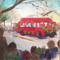 #2 _Jolly Trolly_ 8x8_ oil on board This is a painting of a refurbished San Francisco street trolley