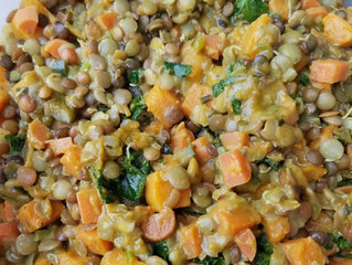 Spinach, Kale, Lentils and Sweet Potatoes
