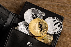 crypto currency coin in leather wallet o
