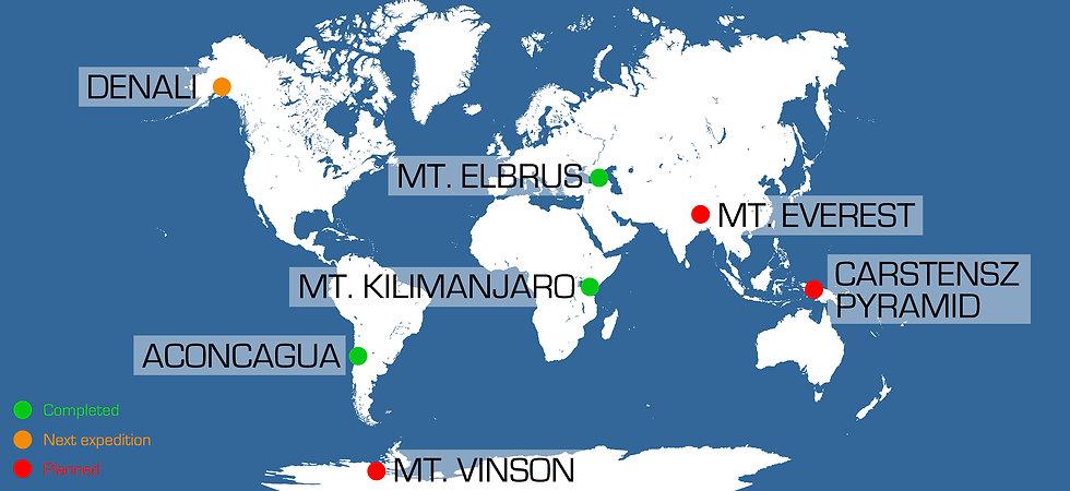 Progress in Torkjel's quest for the seven summits. Illustration: Andreas Ebbesen
