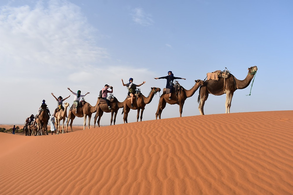 Arabic students during a trip to the Merzouga Desert in Morocco