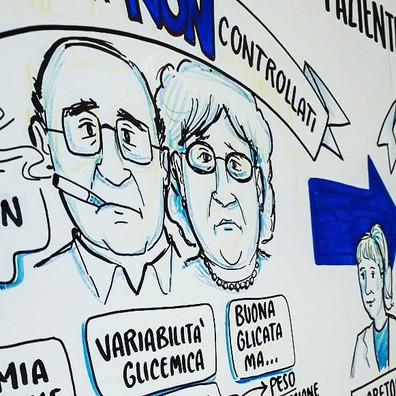 Scribing event in Florence, talking about diabetes