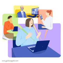Digital illustration created for a presentation banner for Confindustria webinars.