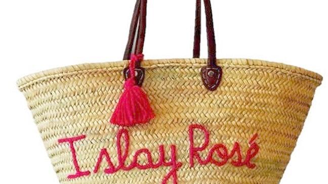 I Slay Rosé Straw Tote