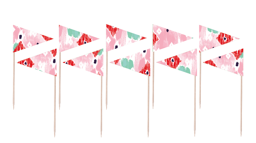 Watercolor Flag Party Picks