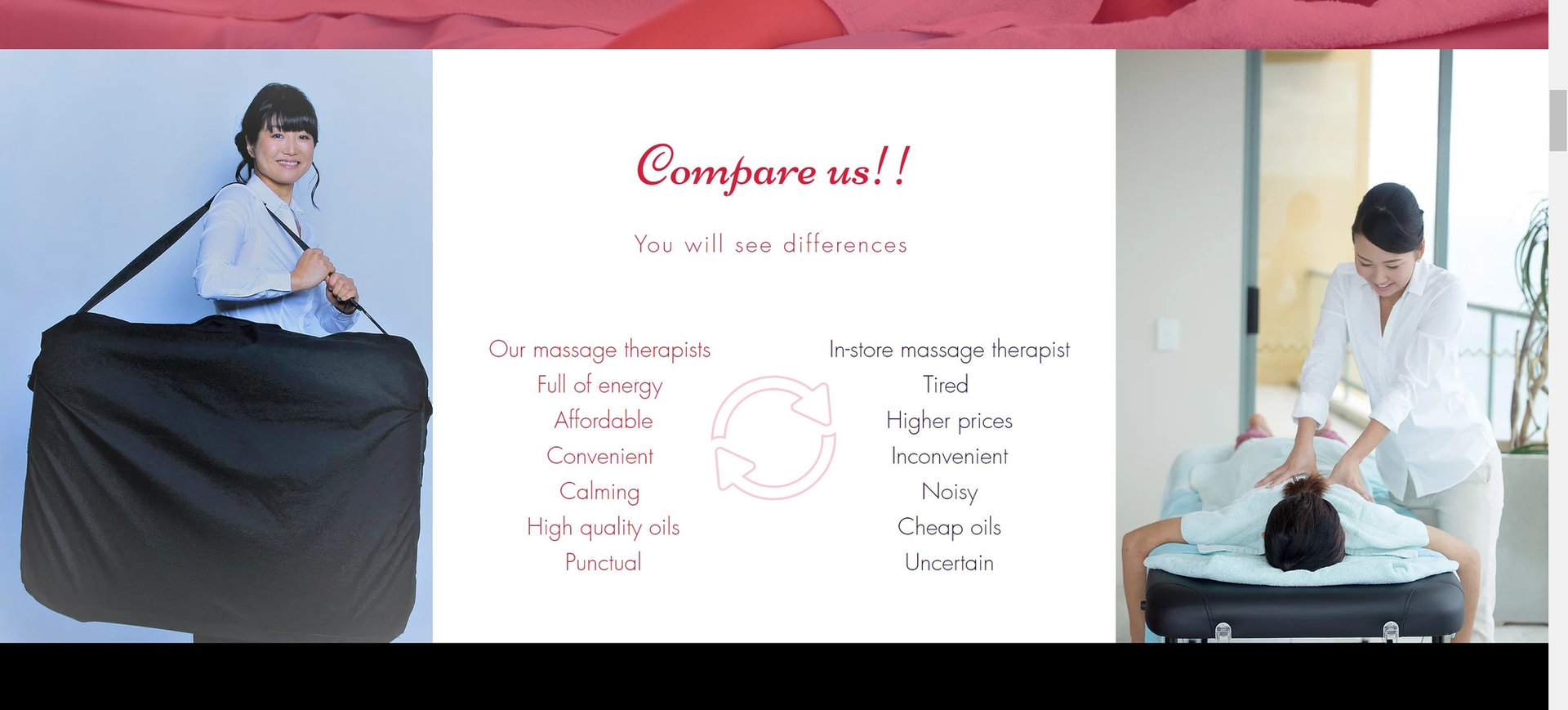 Comfort mobile massage web page