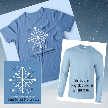 Shirts are long sleeved in a light blue.