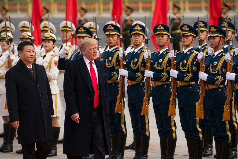 Presidents Trump and Xi inspecting troops in Beijing, November 9, 2017. Photo courtesy of New York Times