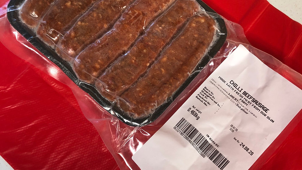 6 Mild Chilli Beef sausages