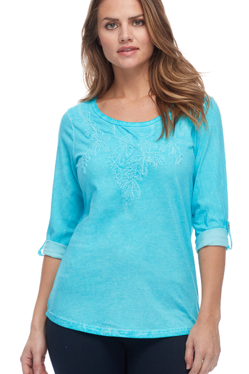 Jewel Neck Tee with Soutash Embroidery on Bodice.