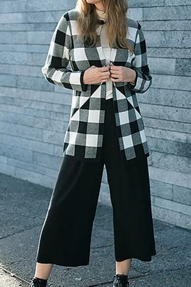 A Striking Black and White Checked Coat