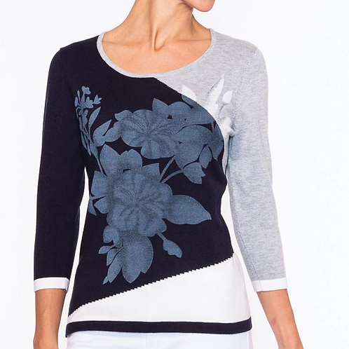 A Pretty Alison Sheri Sweater in Navy, Gray, and White.