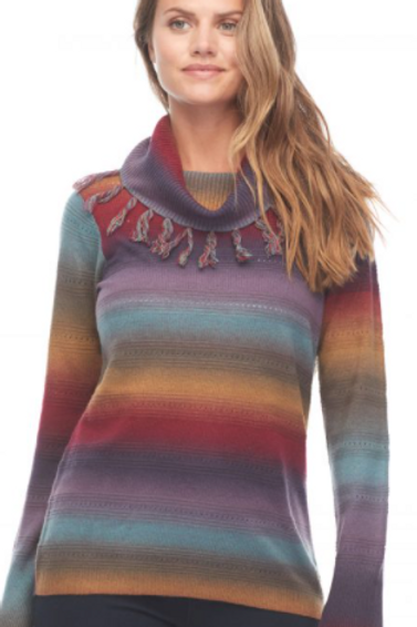 Space Dyed Sweater with Fringed Cowel Neck