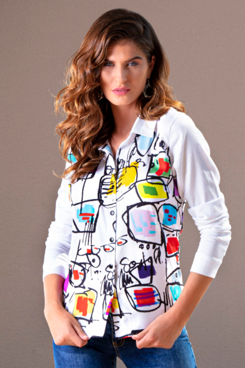 Fitted Blouse in Abstract Print on White.