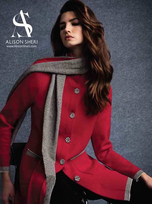 Alison Sheri Red Coat with Scarf
