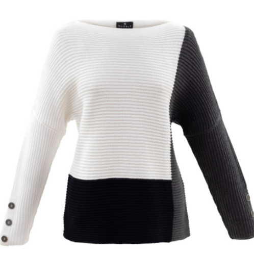 Color Block Boatneck Sweater