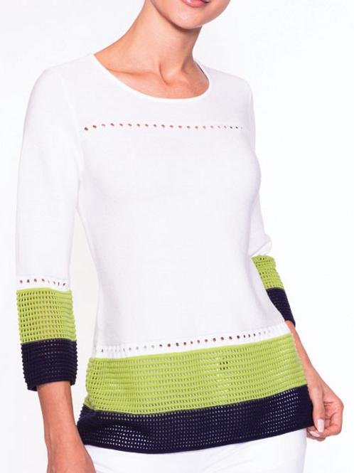 Alison Sheri sweater wtih border trim